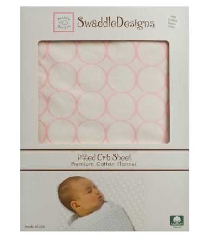 SwaddleDesigns Organic Cotton Flannel Fitted Crib Sheet, Mod Circles - 1