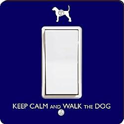 Rikki Knight Keep Calm and Walk the Dog Single Rocker Light Switch Plate, Blue