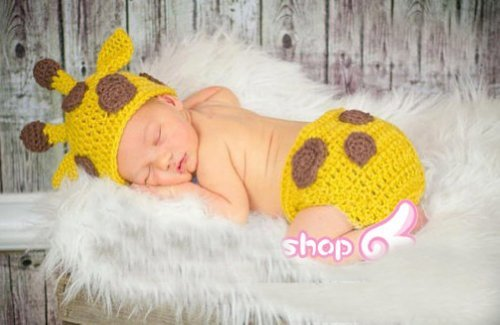 Baby Boy Girl Toddler Crochet Giraffe Hat and Diaper Cover Set Party Shower Costume
