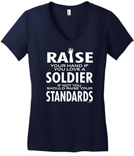 Love A Soldier If Not Raise Your Standards Juniors V-Neck Medium New Navy