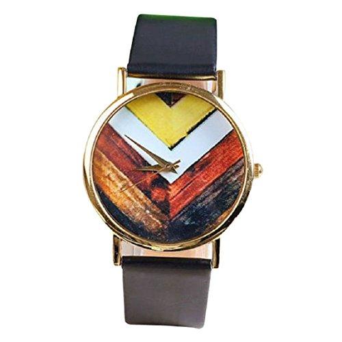 Suppion Popular Fashion Woman Man Geometry Pattern Leather Band Watch Wrist Watches