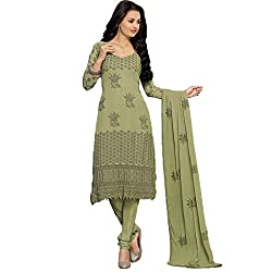 Rozdeal Women Chiffon Embroidered Dress Material 3/4 Sleeve Green Anarkali Suit