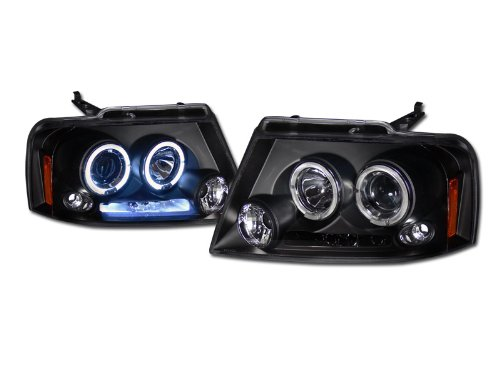 Blk Drl Led Dual Halo Rims Projector Head Lights Lamp Signal Ford F150