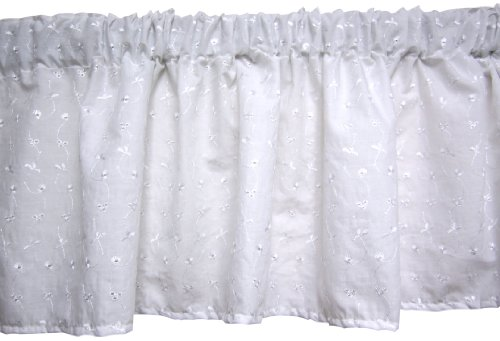 Baby Doll Bedding Carnation Eyelet Valance, White - 1