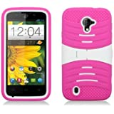 AIMO Rugged Wave Armor Case w/ Built-in Kickstand for ZTE Majesty Z796c [Straight Talk] - (White / Hot Pink)