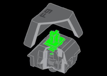 Der grüne mechanische Razer Schalter
