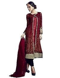 Desi Look Women's Maroon Georgette Unstitched Salwar Suit With Dupatta