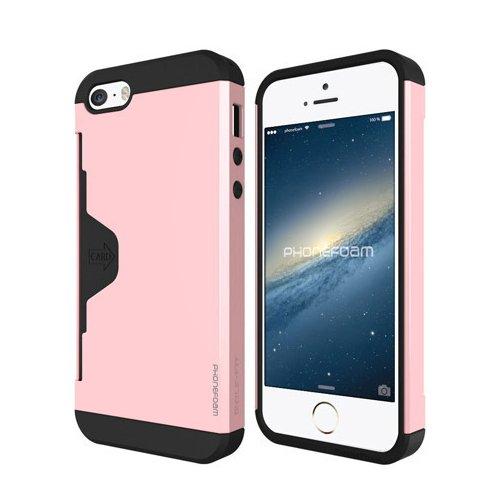 【日本正規品】 PhoneFoam Golf Fit iPhone SE カード収納機能付きケース エラー防止シート付き ピンク