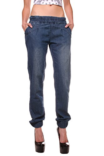 Exocet Women's Plus-size Denim Jogger in Dark Indigo Wash with Elastic Waist,1X Plus