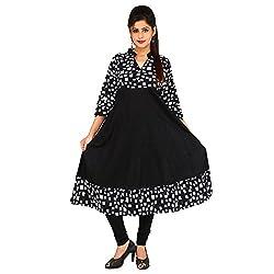 AnjuShree Choice Women's Cotton Black & White Stitched Anarkali Kurta Kurti (X-Large)