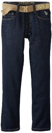 U.S. Polo Assn. Big Boys' Five Pocket Jean, Blue Wash, 8