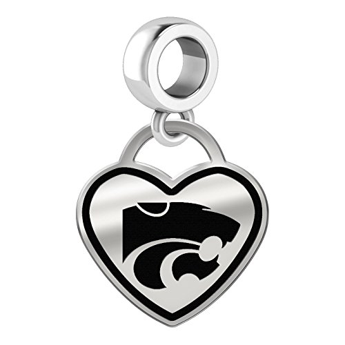 Kansas State Wildcats Border Heart Dangle Charm Fits All Beaded Charm Bracelets