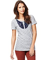 Indigo Collection Pure Cotton Henley Neck Striped Top