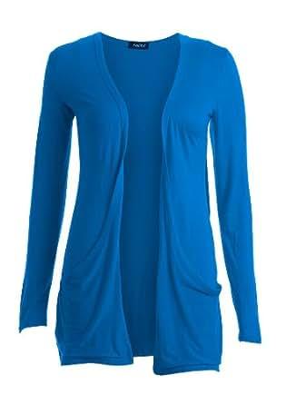Cardigan Femme Manche Longue Style Petit-ami Poche - ML , Bleu Roi