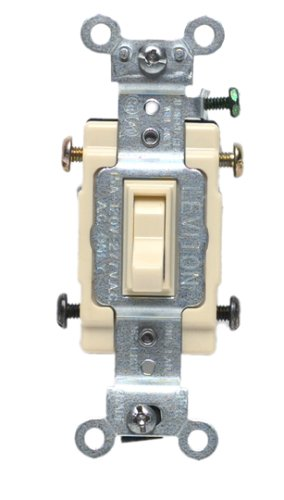 Leviton 54504-2I 15-Amp, 120/277-Volt, Toggle Framed 4-Way AC Quiet Switch, Commercial Grade, Ivory