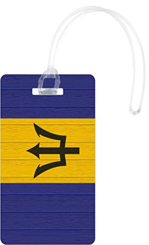 Rikki KnightTM Barbados Flag on Distressed Wood Design Flexi Luggage Tags - Premium Quality Plastic ID Card Tags - Great for Travel (Set of 8) (Brother 8610 compare prices)