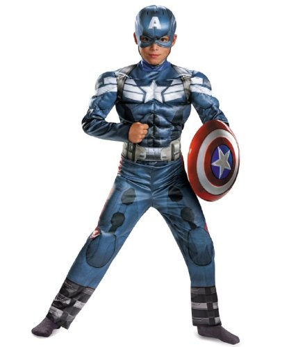 Captain America The Winter Soldier Child Muscle Costume with Shield Size:Small 4-6