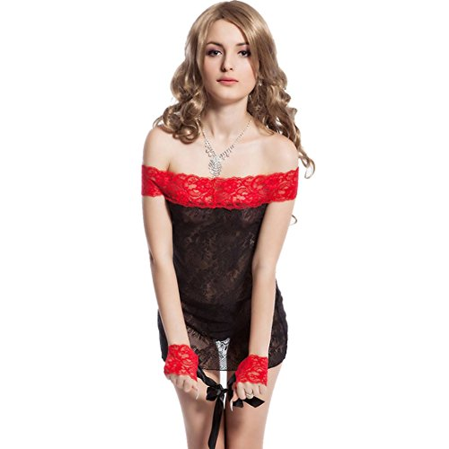 Nitein-Womens-Offshoulder-Chemise-With-Handcuffs-And-G-String-Black-RedFree-Size