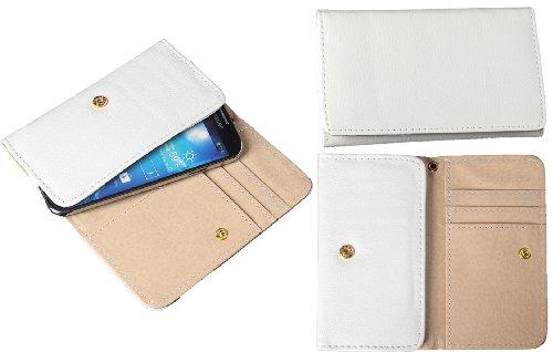 Rhaise Smartphone Slim weiß / weiss Leder Quertasche Schutz Hülle mit Kreditkartenfach und gratis Stylus Touch Pen für das Samsung Galaxy Ace II / 2 X S7560M