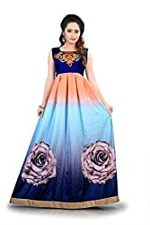 Shital Fashion World Women's Blue Printed Bhagalpuri Silk Western Wear Gown