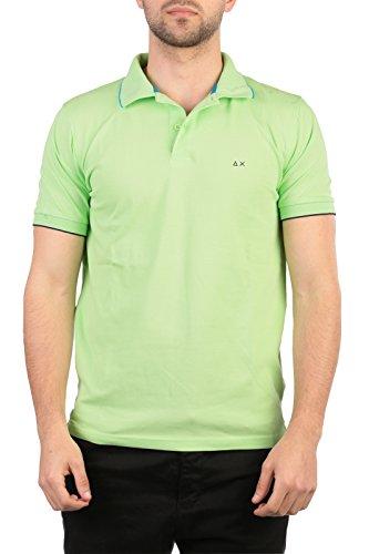 SUN68 Uomo Polo Maglia T-Shirt Primavera Estate Verde Art 16105 68 P16