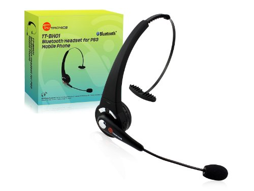 TaoTronics TT-BH01 Black Rechargeable Wireless Over-the-head Bluetooth Headset with Microphone, Featuring Noise Reduction / Multi-Point / 8 Hours Talk Time / Sony PS3 Supported
