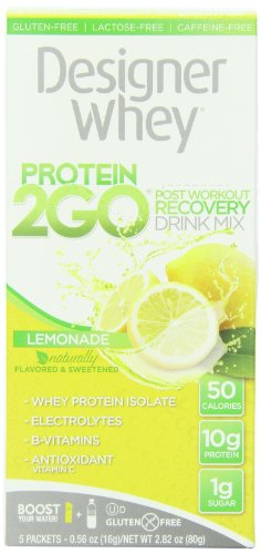 Designer Protein Protein 2Go Drink Mix, Lemonade, 0.56 Ounce (5-Packets)