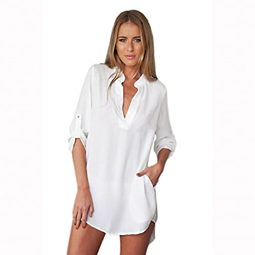 Vovotrade® Women Long Sleeve Tunic V Neck Loose Tops Casual Shirt Blouse (UK 8, White)