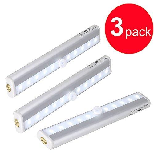 Hallomall™ Aluminum Shell 10 Led Wireless Battery Powered Pir Motion Sensor Lights, Intelligent Night Light With Magnetic Strip For Cabinet/ Drawer/ Bar Sets/ Hotel Closet Etc (3Pack)