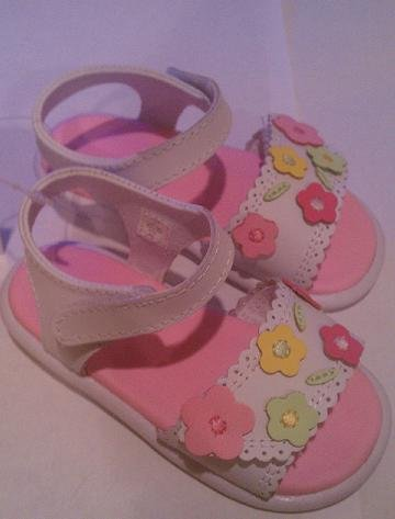 Baby Deer Shoes style 1-5146 Leather Sandal with Flowers Size 6 (18 - 24 months)