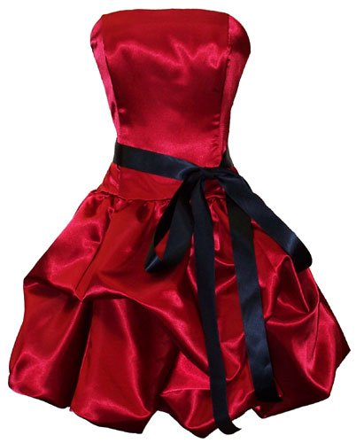 Strapless Satin Bubble Dress Cocktail Gown Prom Holiday Bridesmaid Junior Plus Size, Small, Red