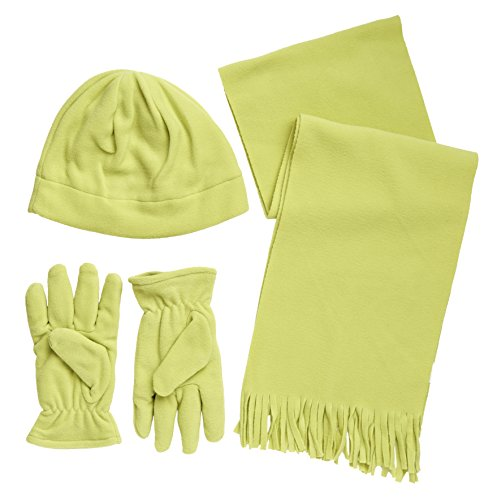 Winter Wear Women'S Microfleece Snowboard Beanie, Gloves And Scarf Lined Ski Set - Lime (One Size)