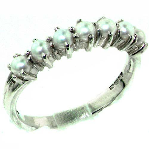 Luxurious Solid Sterling Silver Natural Pearl Ladies Eternity Ring - Size 11.75 - Finger Sizes 4 to 12 Available - Suitable as an Anniversary ring, Engagement ring, Eternity ring, or Promise ring