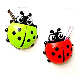Cartoon Ladybird Toothpaste & Toothbrush Holder with Suction Cups(Multicolor)