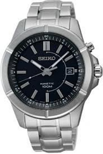 Seiko Ska537 Mens Kinetic Water Resistant Stainless Steel Black Dial Watch