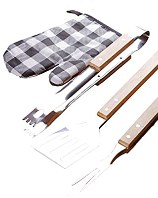 4 Piece BBQ Set - Barbecue Grill Tools Accessories Gift Kit - Stainless Steel Spatula, Fork, Tongs and Mitt - Utensils for Outdoor Grilling Propane Gas Electric Charcoal Grills by Perfect Life Ideas