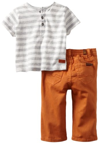 Today 7 For All Mankind Baby-boys Newborn Striped Tee/Jean Set, Heather Grey/Harvest Pumpkin, 6-9 Months
