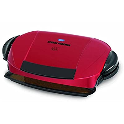 5 Serving Removable Plate Grill, Large Surface Area, 2 Dishwasher Safe Removable Grill Plates, Non - Stick Coating, Fat Removing Design, Red. from George Foreman