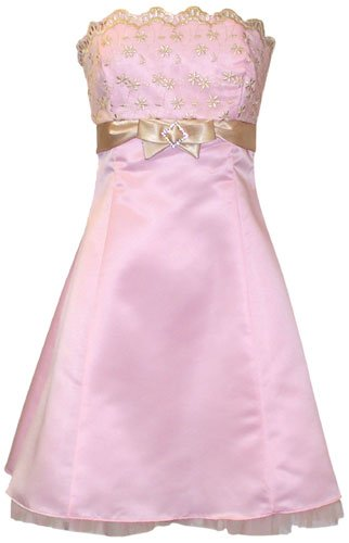 Gold Embroidered Strapless Holiday Prom Dress With Tulle