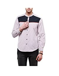Yepme Men's Red & Blue Cotton Stripes Shirt