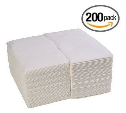 (200 Pack) Linen-Really feel Visitor Towels / Disposable Fabric-Like Hand Napkins, White