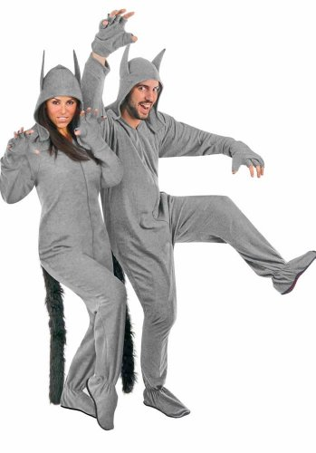 Fleece Adult Grey Wolf Halloween Costume Footed Pajamas Ready to Wear