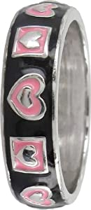 Stack Ring Co Kinetic Sterling Silver Black, Pink Enamel And Silver Heart Pattern Prima Stack Ring - Size P.5