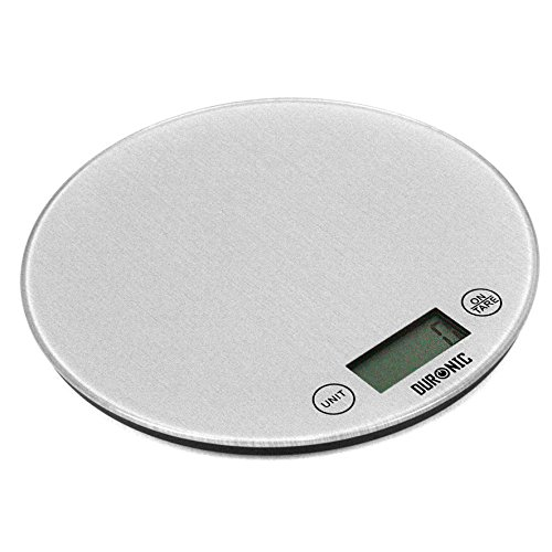 Duronic KS1055 Glass Platform Silver Round Digital Display 5KG Kitchen Scales with 18cm Diameter and 2 Years FREE Warranty