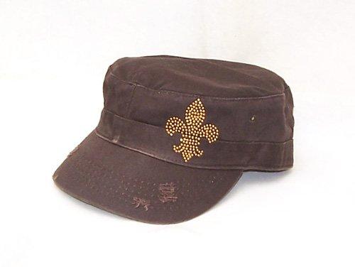 Gold Saints Fleur De Lis Brown Castro Flat Top Hat Cap