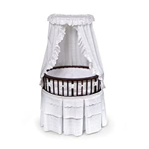 Badger Basket Elite Oval Baby Bassinet Cherry with White Eyelet