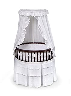 Badger Basket Elite Oval Baby Bassinet, Cherry with White Eyelet