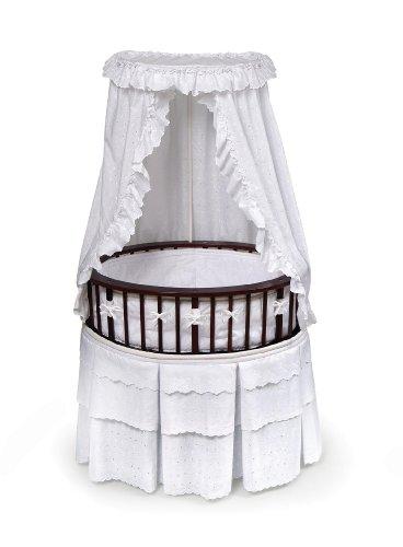 Badger Basket Elite Oval Baby Bassinet, Cherry with White Eyelet