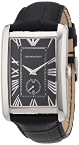 Emporio Armani AR1604 Gents Stainless Steel Watch with Black Leather Strap