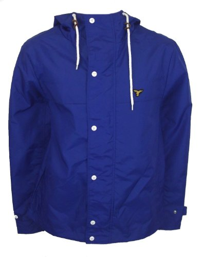 Size Large Le Breve Jetty Men Royal Blue Button Up Waterproof Hooded Raincoat
